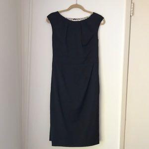 Boden Navy Blue Back Pleat Detail Wool Dress 8L